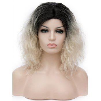 Short Side Parting Natural Wavy Ombre Synthetic Party Wig - multicolor B