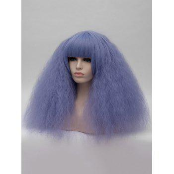Medium Full Bang Corn Hot Curly Anime Cosplay Synthetic Wig - LIGHT BLUE