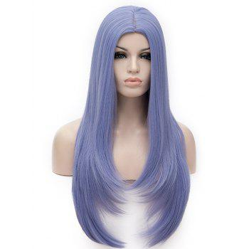 Long Center Parting Tail Adduction Straight Cosplay Synthetic Wig - BABY BLUE