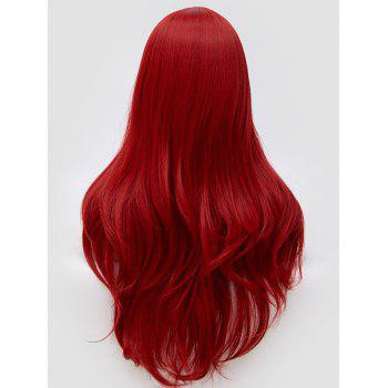 Long Center Parting Wavy Anime Cosplay Synthetic Wig - RED WINE