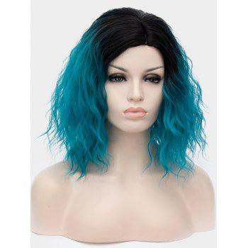Short Side Parting Natural Wavy Ombre Synthetic Party Wig - multicolor E