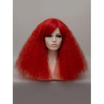 Medium Incliend Bang Corn Hot Wavy Lolita Party Synthetic Wig - CHESTNUT RED