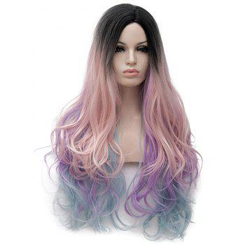 Long Side Parting Colormix Layer Sligthly Curly Party Synthetic Wig - multicolor