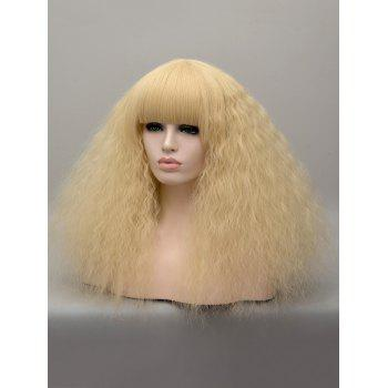 Medium Full Bang Corn Hot Curly Anime Cosplay Synthetic Wig - BLONDE