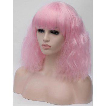 Medium Neat Bang Corn Hot Wavy Cosplay Party Synthetic Wig - LIGHT PINK