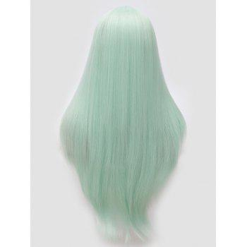 Long Center Parting Tail Adduction Straight Cosplay Synthetic Wig - CHARTREUSE