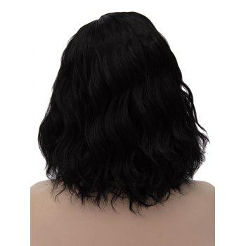 Medium Inclined Parting Natural Wavy Cosplay Synthetic Wig - BLACK