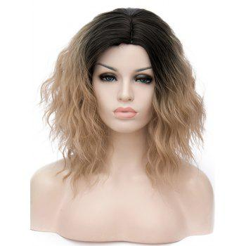Short Side Parting Natural Wavy Ombre Synthetic Party Wig - multicolor A