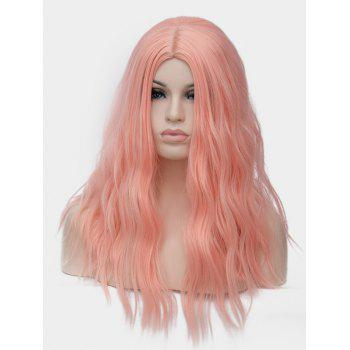 Long Center Parting Natural Wavy Party Anime Synthetic Wig - PINK