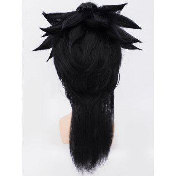 Long Tail Upwards Straight Anime Cosplay Synthetic Wig - BLACK