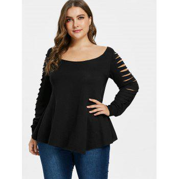 Plus Size Back Cut Out T-shirt - BLACK 2X