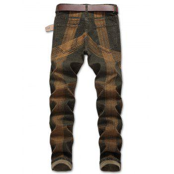 Zip Fly Destroyed Colored Line Jeans - CAMOUFLAGE GREEN EU 32