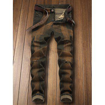 Zip Fly Destroyed Colored Line Jeans - CAMOUFLAGE GREEN EU 34