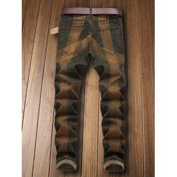Zip Fly Destroyed Colored Line Jeans - CAMOUFLAGE GREEN EU 40