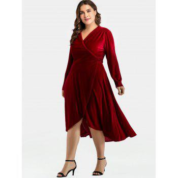 Plus Size Slit Velvet Wrap Dress - RED WINE 4X