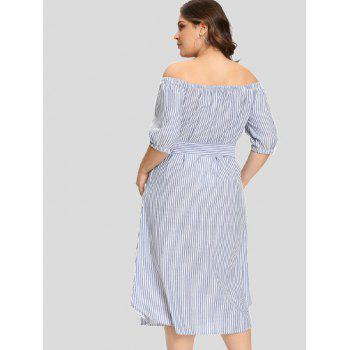 Striped Plus Size Embroidery Mid Calf Dress - SKY BLUE 4X