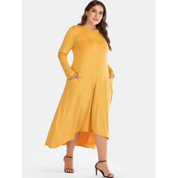 Round Neck Plus Size High Low Dress - YELLOW 2X