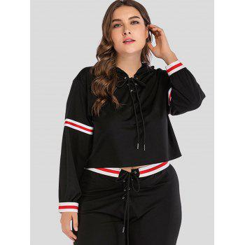 Long Sleeve Plus Size Lace Up Hoodie - BLACK 1X
