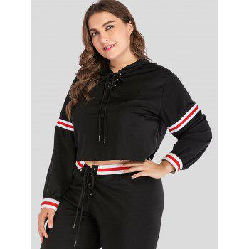 Long Sleeve Plus Size Lace Up Hoodie - BLACK 2X