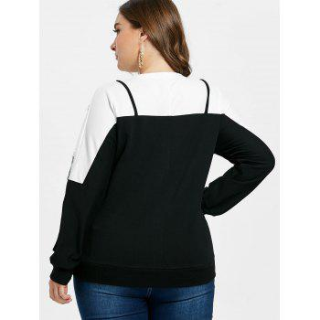Plus Size Lace Two Tone Sweatshirt - BLACK 5X