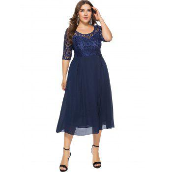 Plus Size Lace Overlay Detail Dress - DEEP BLUE 5X