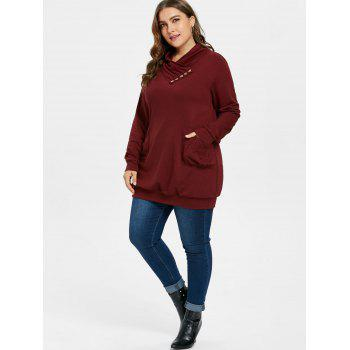 Plus Size Pockets Tunic Sweatshirt - RED WINE 3X