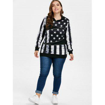 Plus Size American Flag Patriotic Hoodie - BLACK 3X