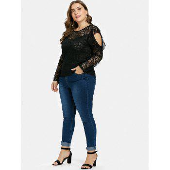 Round Neck Plus Size Lace Top - BLACK 2X