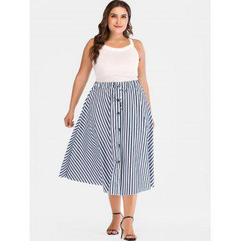 Drawstring Plus Size Striped Mid Calf Skirt - multicolor 2X
