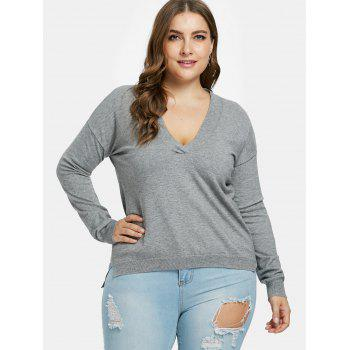 Plus Size Ribbed Panel Long Sweater - GRAY L