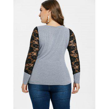 Plus Size Lace Insert T-shirt - LIGHT GRAY 1X