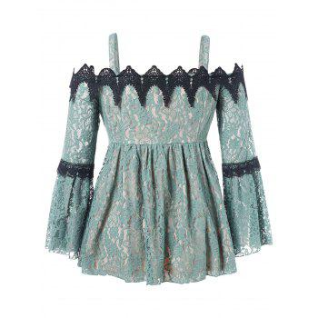 Plus Size Flare Sleeve Lace Blouse - SEA GREEN L