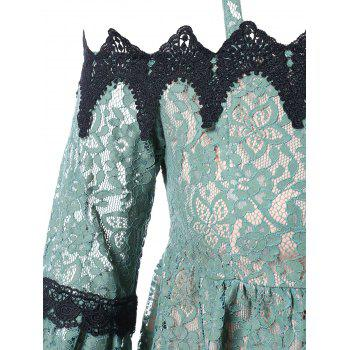 Plus Size Flare Sleeve Lace Blouse - SEA GREEN 3X
