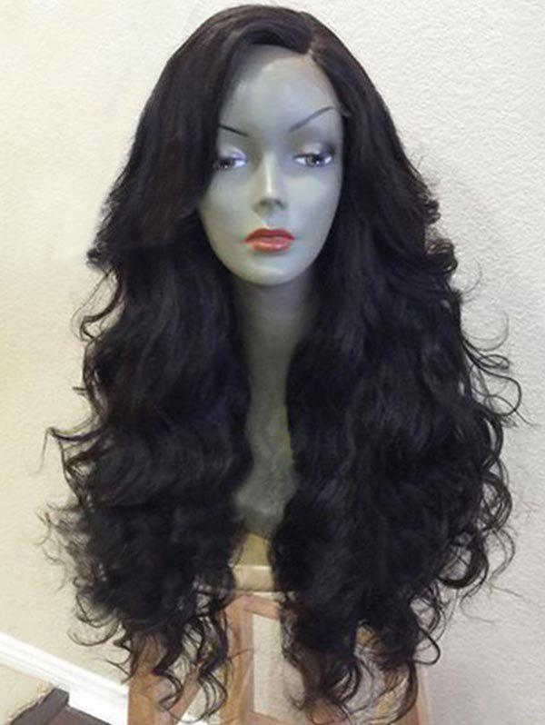 Long Side Parting Wavy Heat Resistance Synthetic Party Wig - NATURAL BLACK