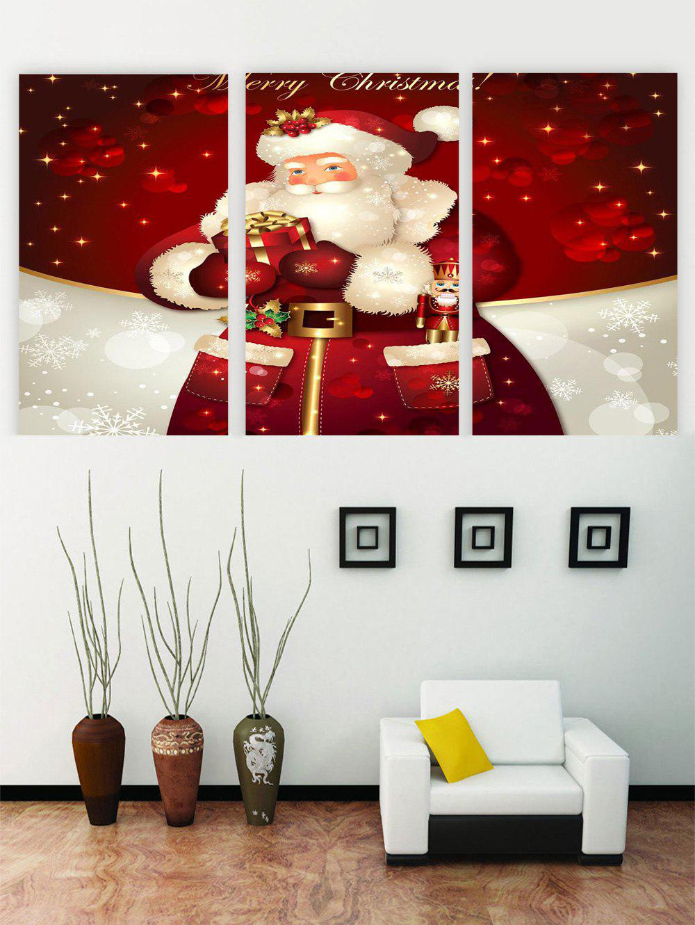 Unframed Father Christmas Canvas Paintings - multicolor 3PCS X 24 X 35 INCH( NO FRAME )