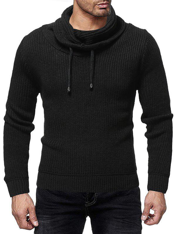 Drawstring Turtle Collar Solid Color Sweater - BLACK 2XL
