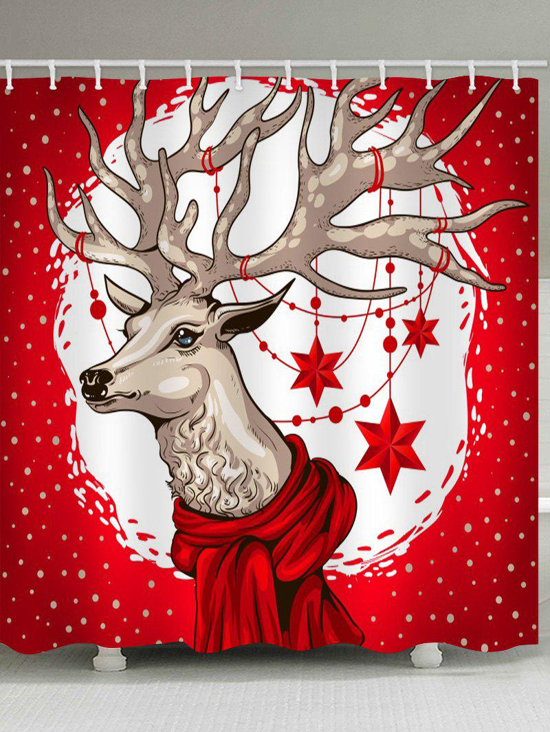 Christmas Deer Printed Waterproof Bath Curtain - RED W71 X L79 INCH