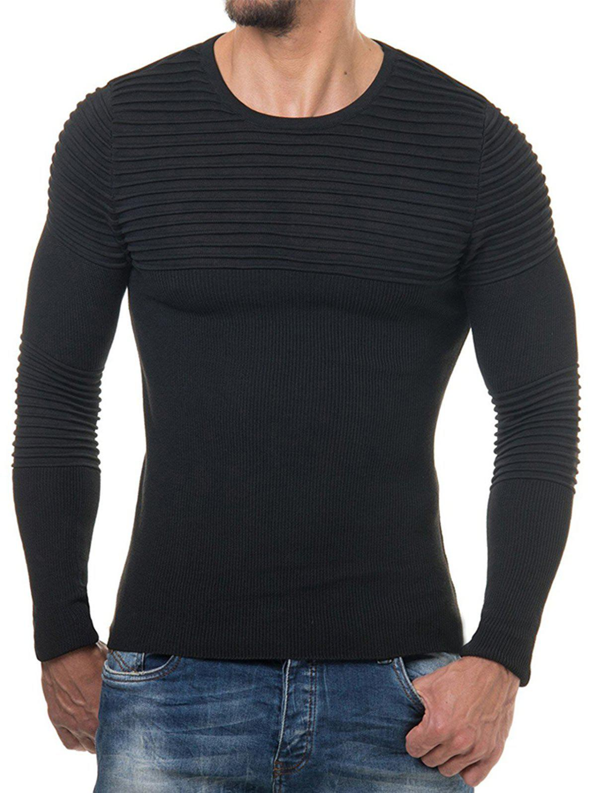 Pleated Solid Color Long Sleeve Sweater - BLACK L