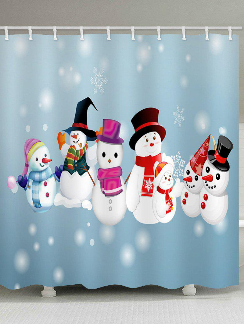 Snowman Snowflake Pattern Waterproof Shower Curtain - multicolor W59 X L71 INCH