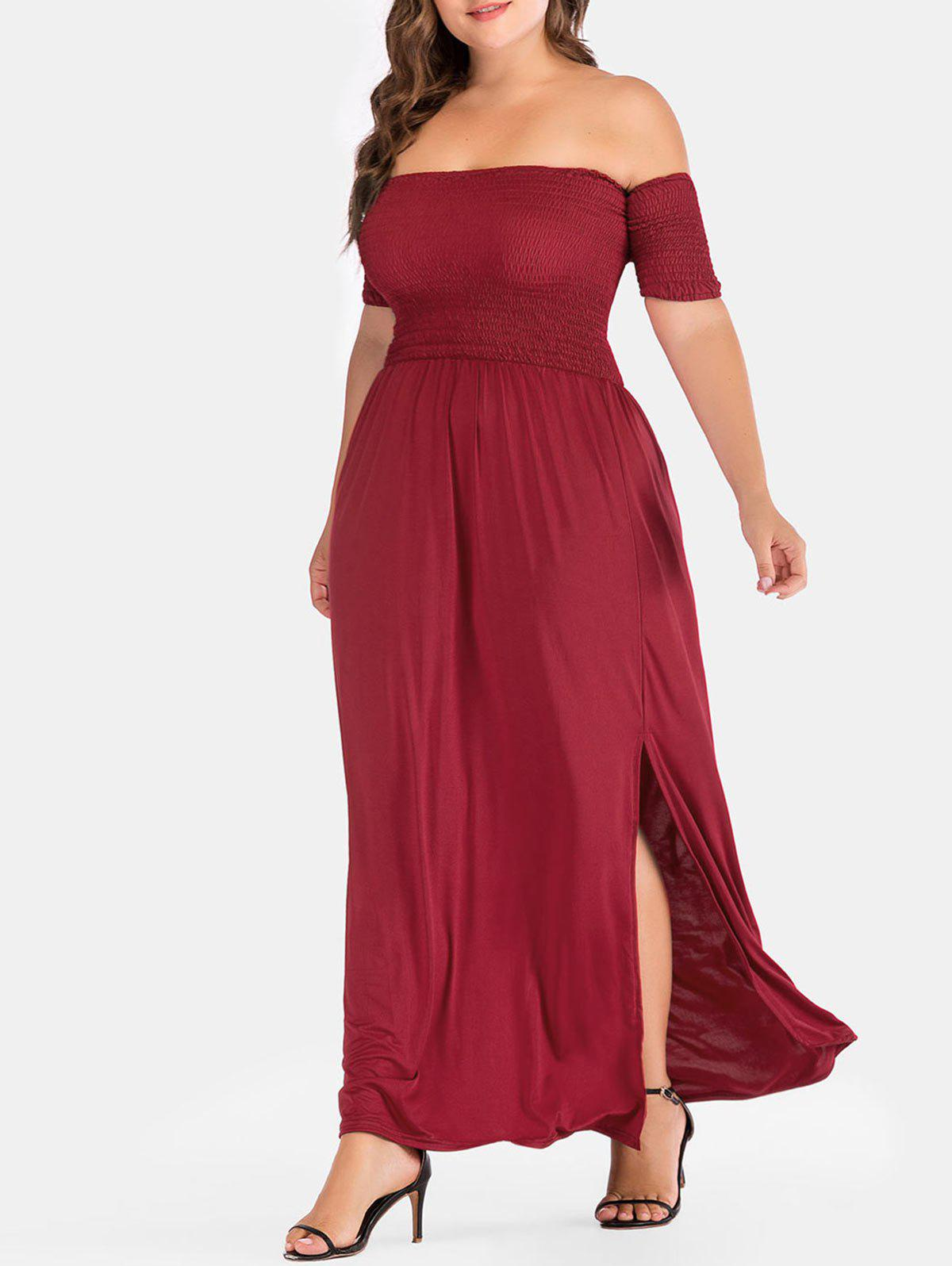 Shirred Plus Size Side Slit Maxi Dress - RED 2X
