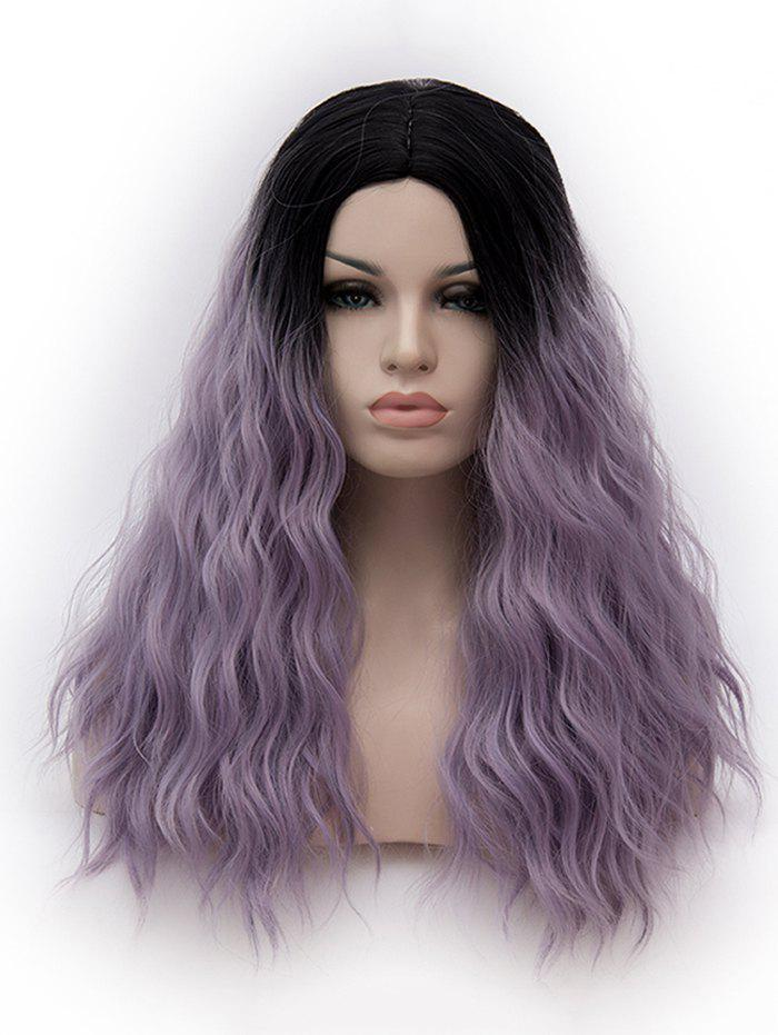 Long Middle Part Natural Wavy Cosplay Party Anime Synthetic Wig - multicolor E
