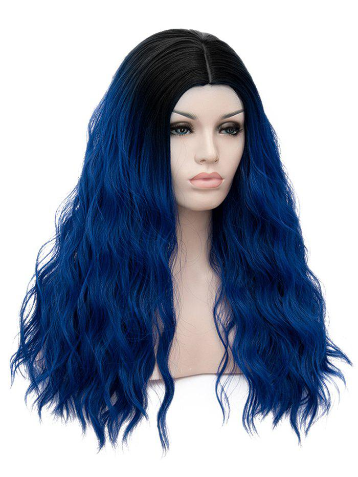 Long Middle Part Natural Wavy Cosplay Party Anime Synthetic Wig - multicolor C