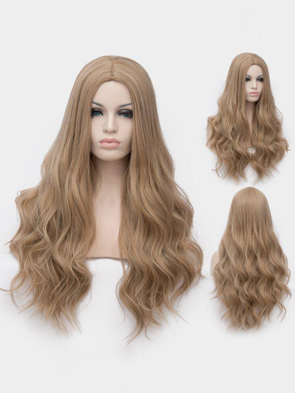 Long Middle Part Wavy Cosplay Party Synthetic Wig - LIGHT BROWN