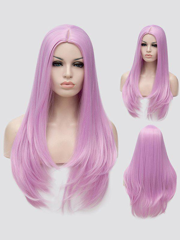 Long Center Parting Tail Adduction Straight Cosplay Synthetic Wig