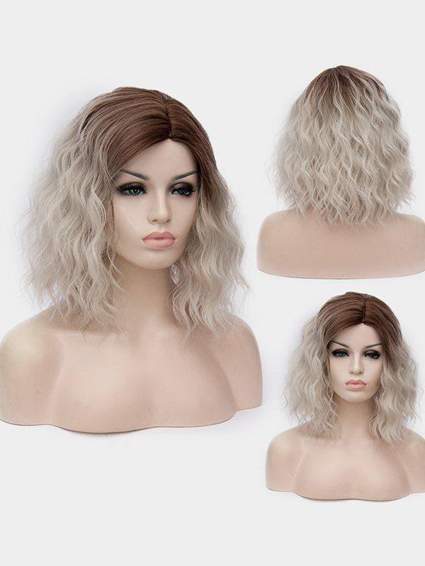 Short Side Parting Natural Wavy Ombre Synthetic Party Wig - multicolor D