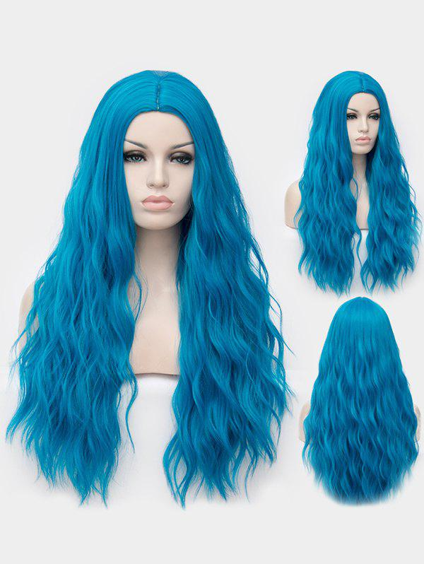 Middle Part Long Natural Wavy Synthetic Anime Cosplay Wig - BLUE DRESS