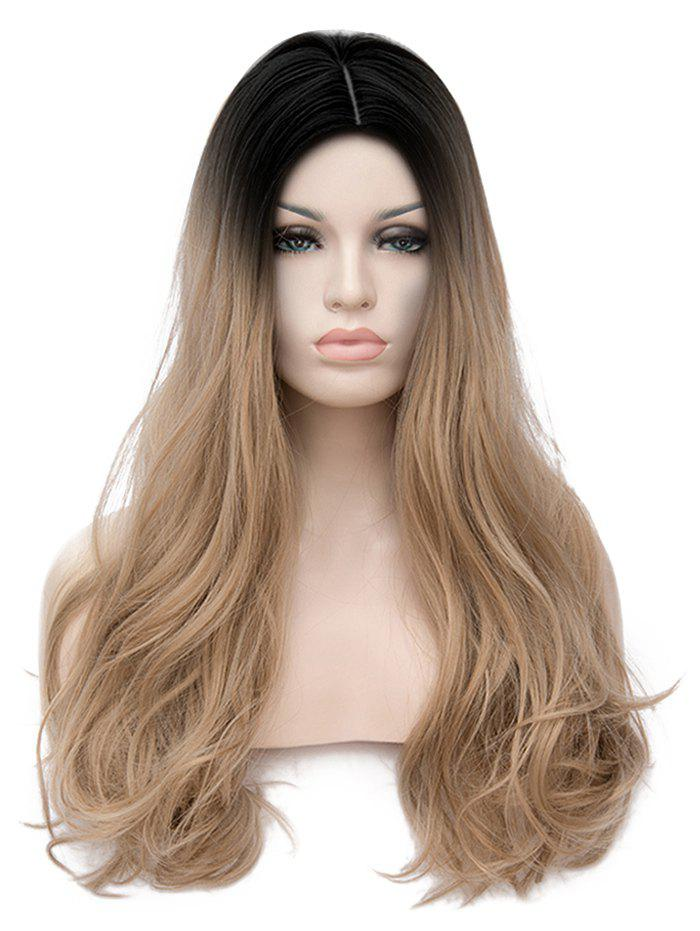 Long Center Parting Colormix Straight Cosplay Party Synthetic Wig - multicolor A