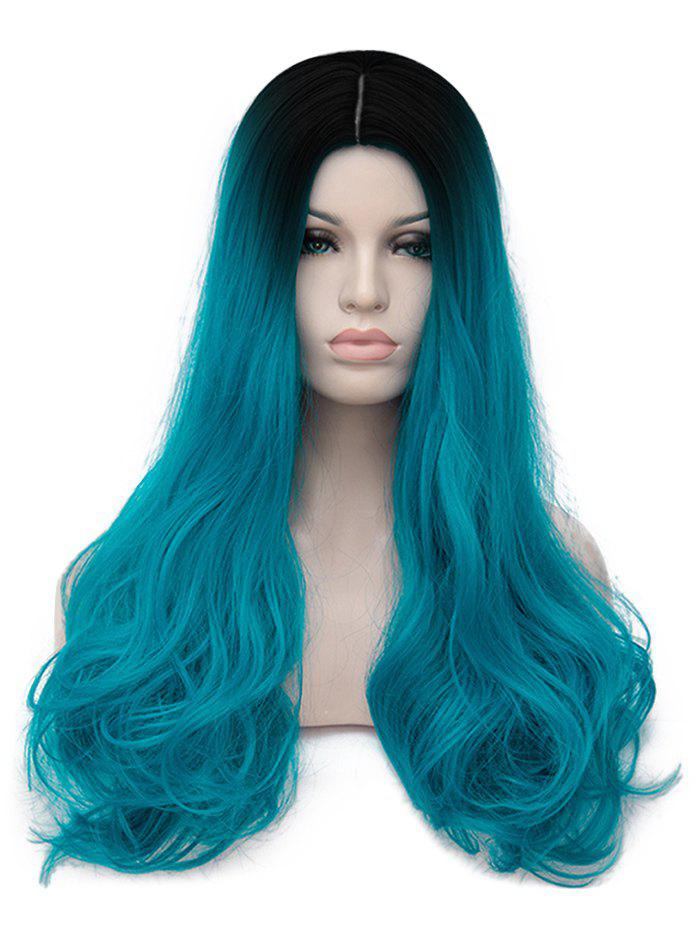 Long Center Parting Colormix Straight Cosplay Party Synthetic Wig - multicolor B