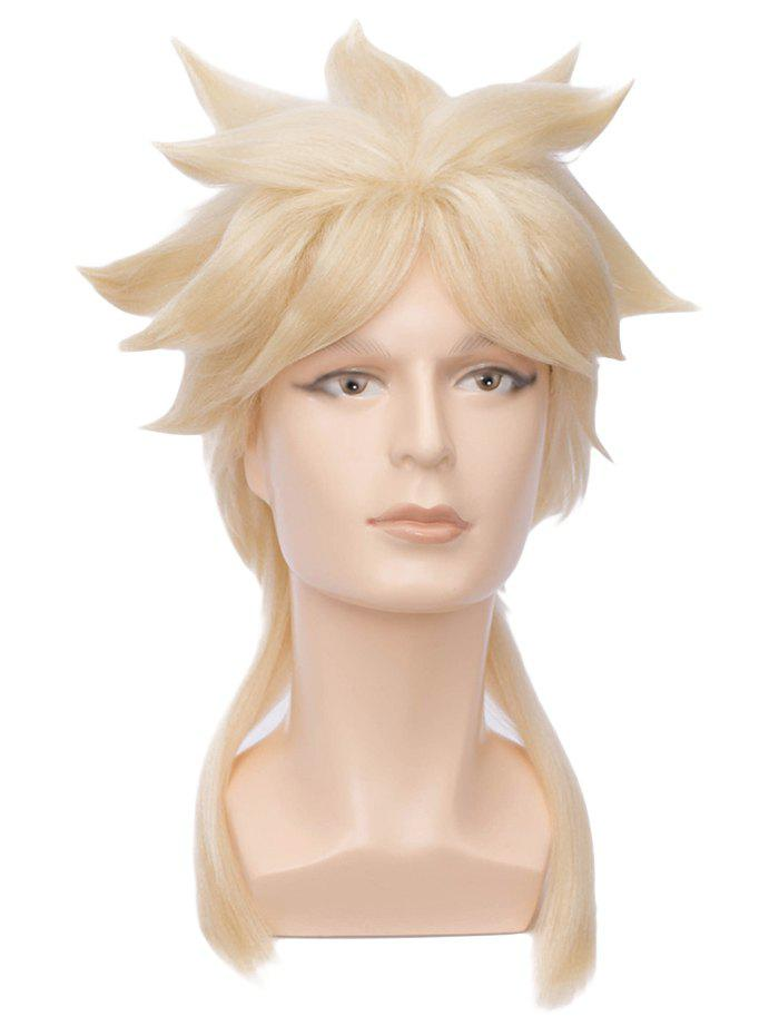 Long Tail Upwards Straight Anime Cosplay Synthetic Wig - BLONDE