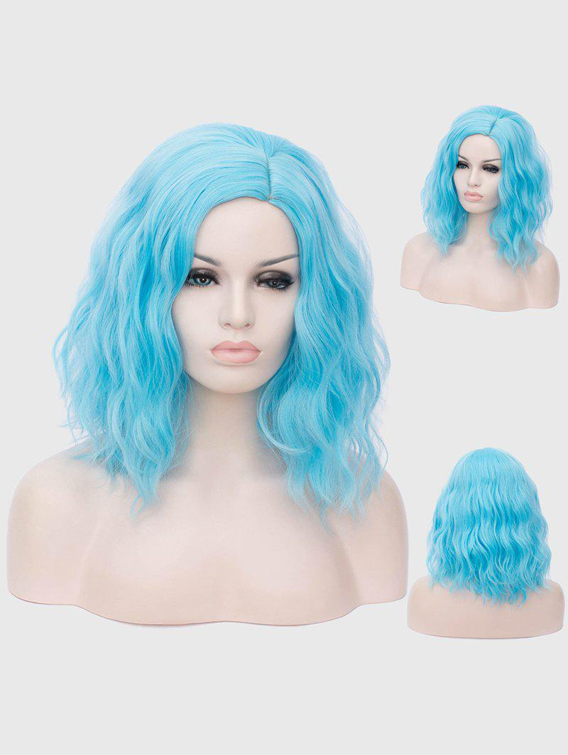 Medium Inclined Parting Natural Wavy Cosplay Synthetic Wig - BLUE ZIRCON
